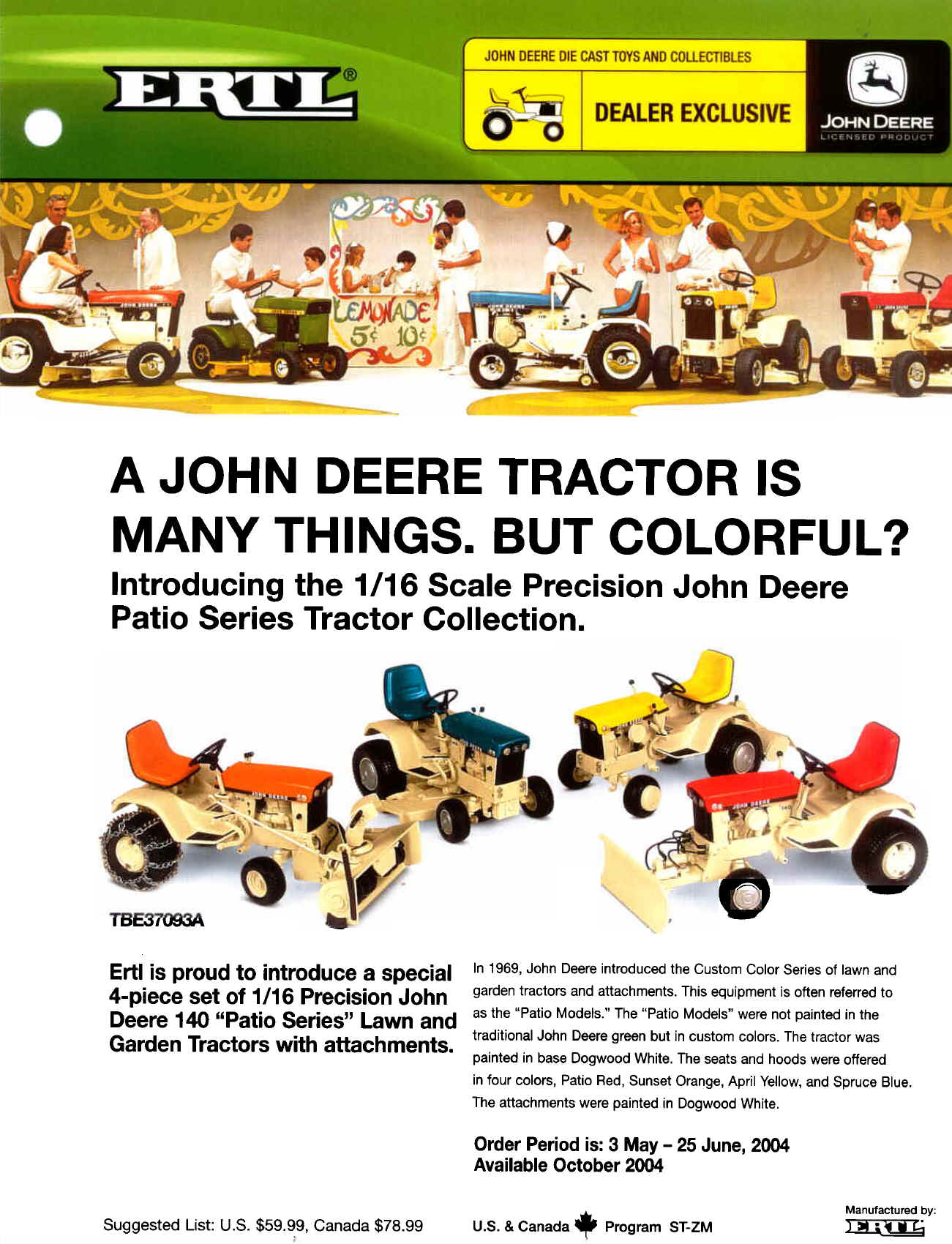 Ertl Patio Set And John Deere 140 Introduction Flyer